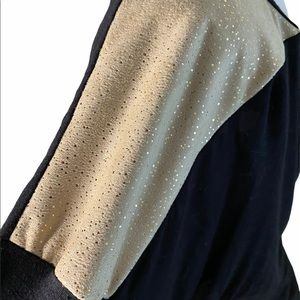 Black tunic with gold foil shoulders and elbow